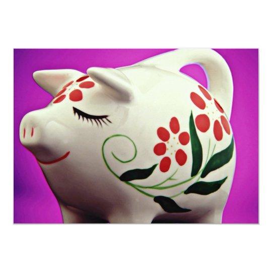 Piggy bank  flowers card