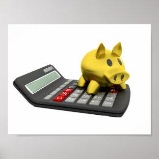 Piggy Bank On A Calculator Poster