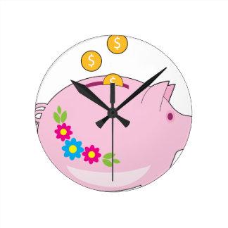 Piggy Bank Round Clock