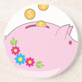 Piggy Bank Sandstone Coaster