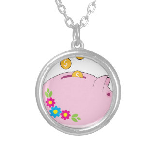 Piggy Bank Silver Plated Necklace