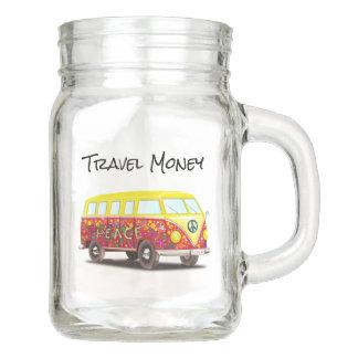 Piggy Bank Travel Money Mason Jar Peace Hippy Van