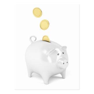 Piggy bank with golden coins postcard