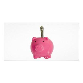 Piggy bank with money card