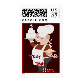 Piggy Chef Postage Stamps