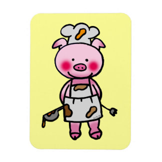 piggy chef rectangular photo magnet