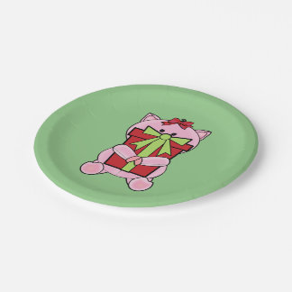 Piggy Christmas Gift Paper Plate