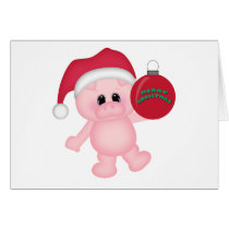 Piggy Christmas Time Card