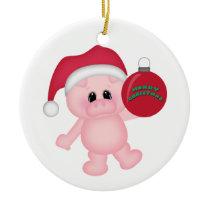 Piggy Christmas Time Ceramic Ornament