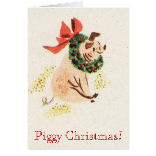 Piggy Christmas Vintage Card With Cute Pig
