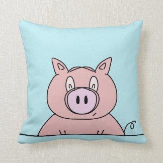 Piggy Close Up Cartoon Design Artwork Throw Pillow