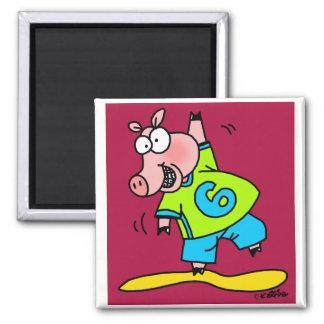 Piggy Dancing 2 Inch Square Magnet