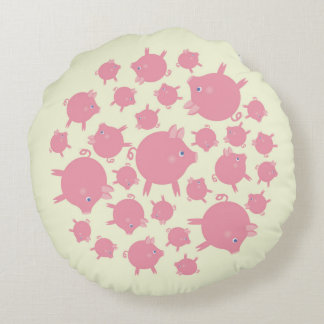 Piggy Explosion Round Pillow (yellow)