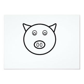 Piggy face 5x7 paper invitation card