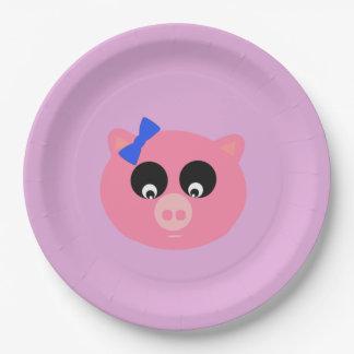 """Piggy Face Paper Plates 9"""""""