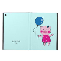 piggy girl with a blue balloon iPad air cover