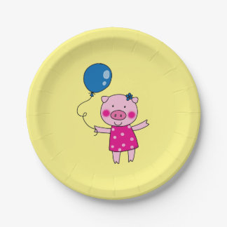 piggy girl with a blue balloon 7 inch paper plate