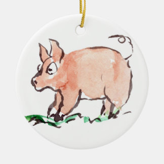 Piggy Goes Oinking Here and There Ceramic Ornament