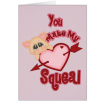Piggy Heart Squeal Valentine's Day Card