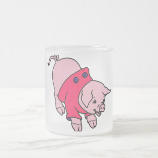Piggy in a Pink Coat 10 Oz Frosted Glass Coffee Mug