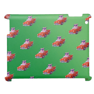 Piggy in Little Red Car Green case iPad Case