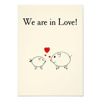 PiGgy in Love. 5x7 Paper Invitation Card