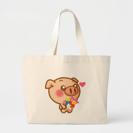 Piggy in Love Large Tote Bag