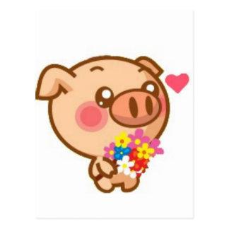Piggy in Love Postcard