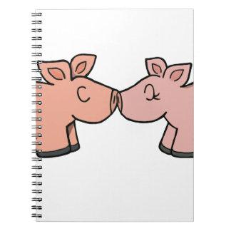 Piggy kiss spiral notebook