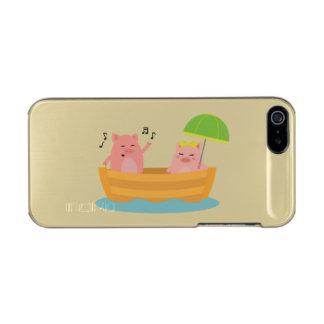 Piggy Love Ship Metallic Phone Case For iPhone SE/5/5s