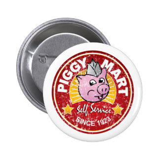 Piggy Mart Vintage Grocery Store Employee Badge 2 Inch Round Button