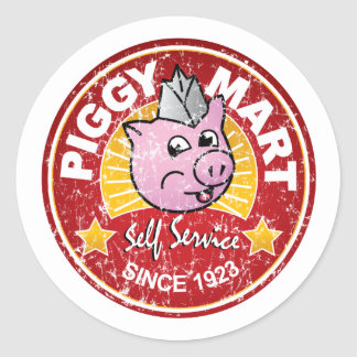 Piggy Mart Vintage Grocery Store Employee Badge Sticker