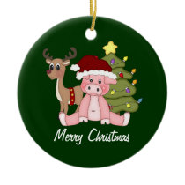 Piggy Merry Christmas Ornament