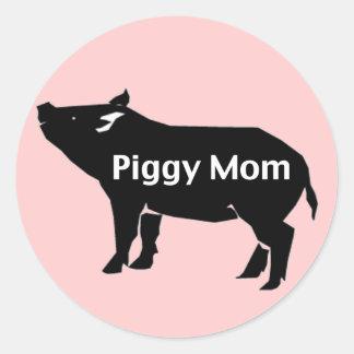 Piggy Mom Classic Round Sticker