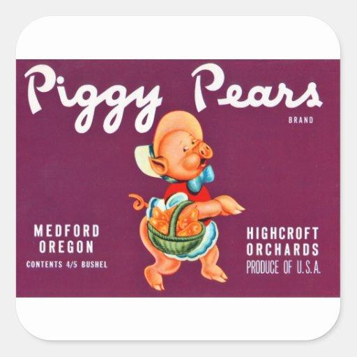 Piggy Pears Square Sticker