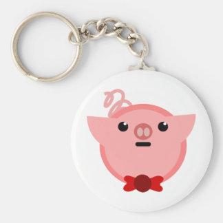 piggy pig basic round button keychain