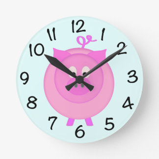 Piggy Pig Round Clock