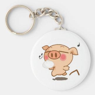 Piggy Pirouettes Basic Round Button Keychain