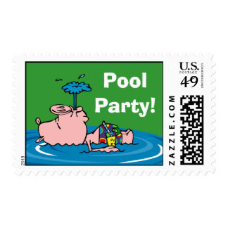 Piggy Pool Party Personalized Postage
