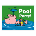 Piggy Pool Party Personalized Postcard