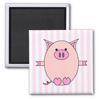 Piggy Power - Pink Piggies and Stripes 2 Inch Square Magnet