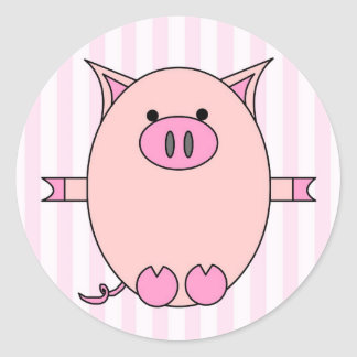 Piggy Power - Pink Piggies and Stripes Classic Round Sticker