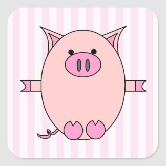 Piggy Power - Pink Piggies and Stripes Square Sticker