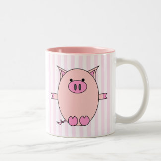 Piggy Power - Pink Piggies and Stripes Two-Tone Coffee Mug