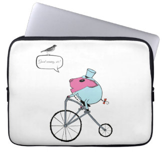 PiGgy riding a penny-farthing Computer Sleeve