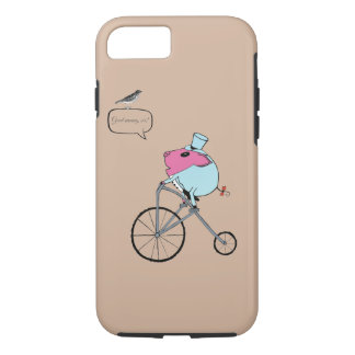 PiGgy riding a penny-farthing iPhone 7 Case