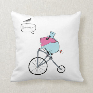 PiGgy riding a penny-farthing Throw Pillow