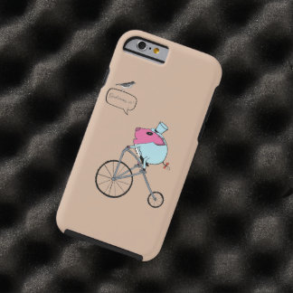 PiGgy riding a penny-farthing Tough iPhone 6 Case
