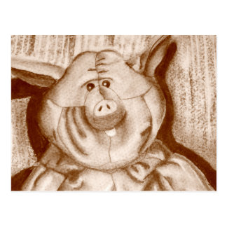 Piggy Stuffed Animal Brown Charcoal Drawing Postcard