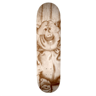 Piggy Stuffed Animal Brown Charcoal Drawing Skateboard Deck